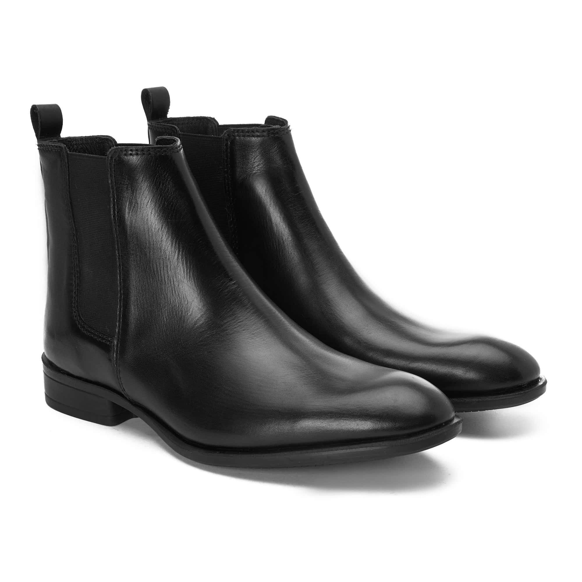 Half boot leather black