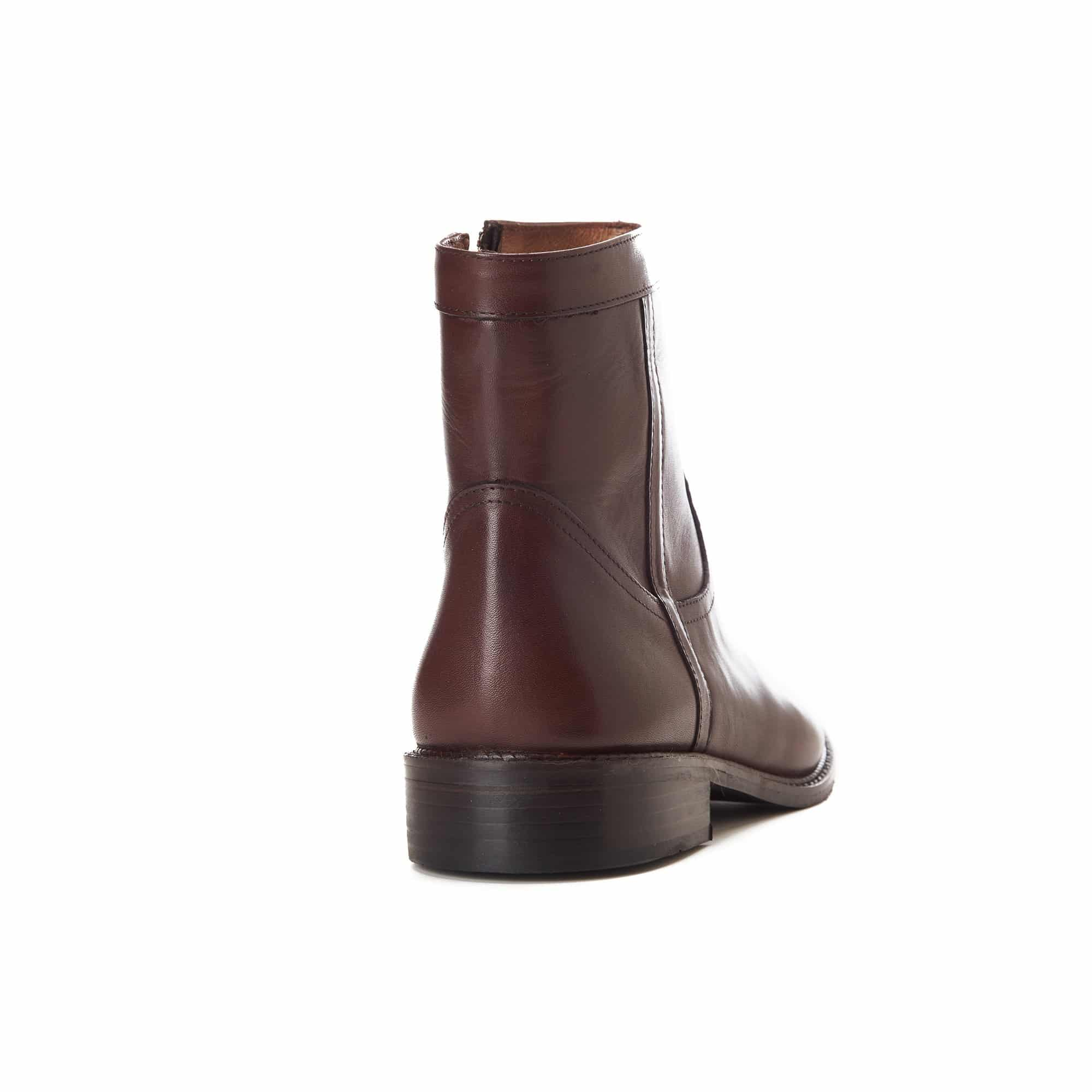 Brown Halfboot Leather Zipper